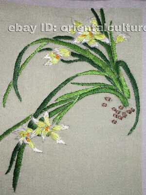 Chinese 100% hand embroidered silk suzhou embroidery art:orchis flower