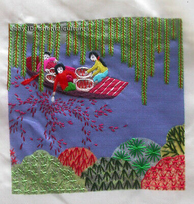 Chinese 100% hand embroidered silk suzhou embroidery art:boating life 4.73inches