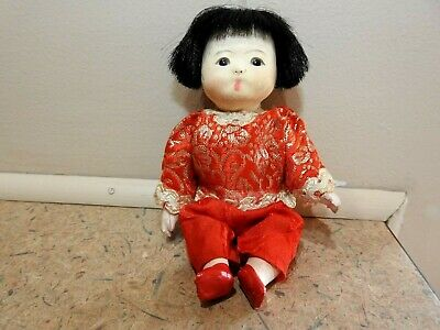 """vintage Oriental Asian Japanese Chinese porcelain Jointed Doll 5"""" Rare"""