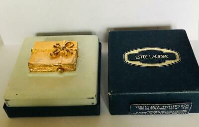 "NIB FULL/UNUSED 1977 Estee Lauder YOUTH DEW ""GOLD JEWELER'S BOX"" Solid Perfume"