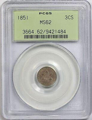 1851 Three Cent Silver Trime 3CS MS 62 PCGS OGH