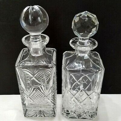 Hand Cut Lead Crystal Square Decanters Lot of 2 Vintage 1980s Samobor Yugoslavia