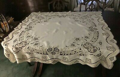 Beautiful Antique Madeira And Lace Square Tablecloth