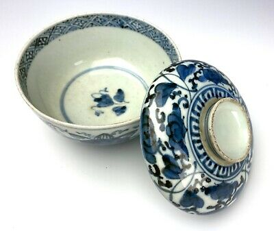 SUPERB CHINESE MING DYNASTY PORCELAIN COVERED BOWL Blue and White China