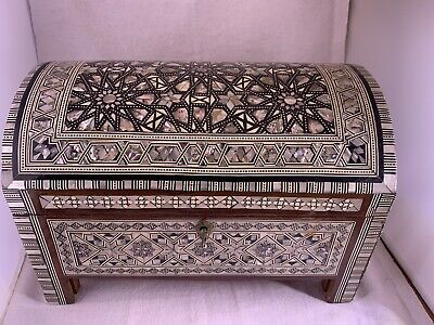 Egyptian Inlaid Wooden Jewelry Chest Box - Red Velvet Interior 11.5 x 9 x 7.5
