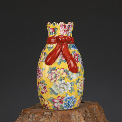 """7.3"""" Old Chinese yongzheng marked colour enamels Porcelain painting flower vase"""