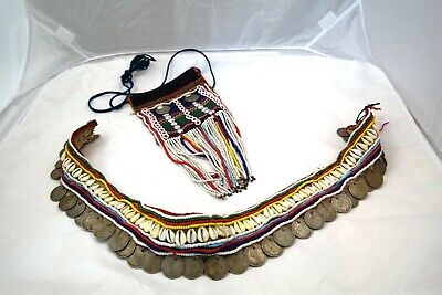 Antique African Necklace Collar Coins Shell Glass Beads Fabric + Tuareg Bag