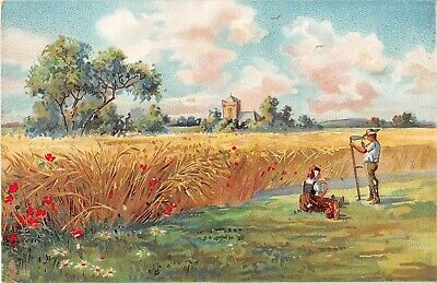 Landscape of Wife Bringing Lunch To Man With Scythe in Grain Field-Old Tuck PC