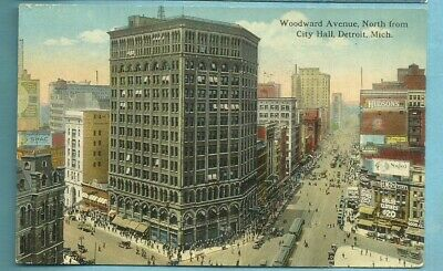 Detroit, Mi/ Woodward Ave. North from City Hall/ buildings/ signs/people/pc