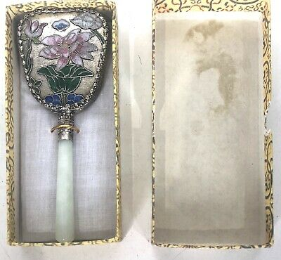 Small Asian Hand Mirror Floral Metal Ornate Back Handle Vintage Original Box