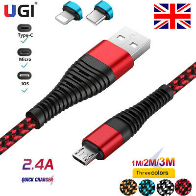 UK IOS Micro USB Type-C Fast Charger Braided Data USB Cable For Samsung S7 S6 S5