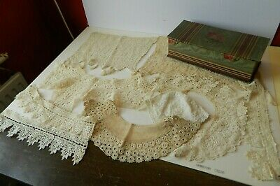 Vintage French Fabric Covered Box with Antique Handmade Lace Collars etc.