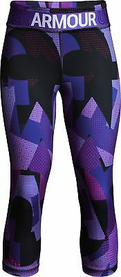Under Armour Heatgear Printed Girls 3/4 Capri Running Tights - Purple