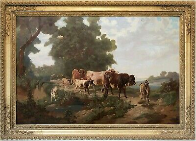 Cattle in a River Landscape Antique Oil Painting 19th Century British School