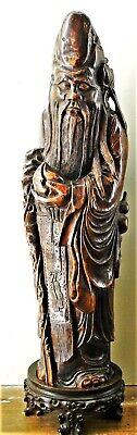 X Rare Massive! Chinese Carved Bamboo Figure Of Shoulao On Stand Qing 1850 63 Cm
