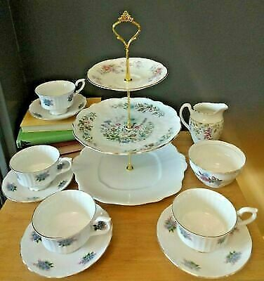 Vintage/shabby Mismatch Rosebud Bone China TeaSet Afternoon tea/cake stand 4 duo