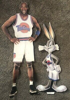 Vtg 90's Space Jam Michael Jordan Bugs Bunny Cardboard stand Store Display Sign