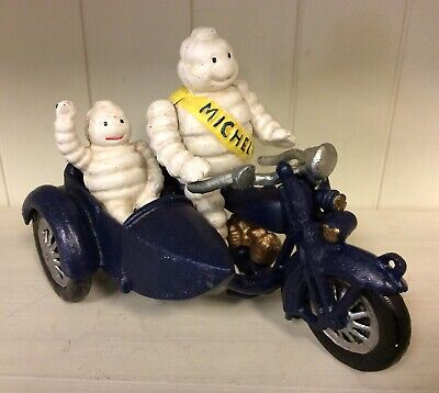 CAST IRON 2 MICHELIN MAN ON MOTORCYCLE WITH SIDE CAR, Vintage Style Toy Car