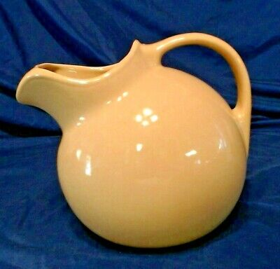 """Large Vintage Tan Ball Pitcher With Ice Lip, 10 Cup,  8"""" Tall, Hall Usa Excllnt"""