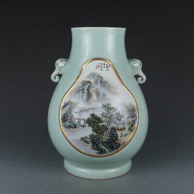 "14.3"" Old Kangxi marked pea green glaze famille rose Porcelain landscap vase"