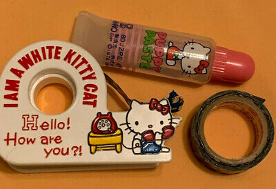 VINTAGE Lot - 1976 White Sanrio Hello Kitty Tape Dispenser, Tape, Puppy Paste