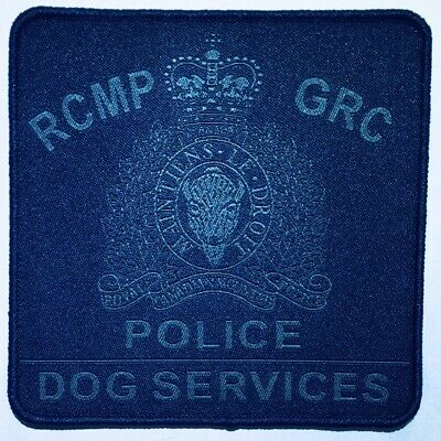 """RCMP GRC POLICE DOG SERVICES Canada 4"""" Grey/Navy Hook/Loop Obsolete Patch"""