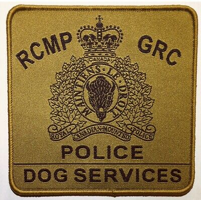 """RCMP GRC POLICE DOG SERVICES Canada 4"""" Black/Green Hook/Loop Obsolete Patch"""