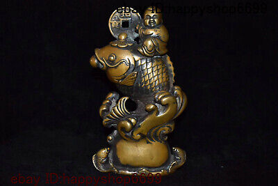 Chinese Palace Bronze Copper Feng Shui Auspicious Wealth Lotus boy Fish Statue