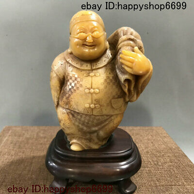 Collection Chinese folk handmade carving Shoushan stone Landlord statue