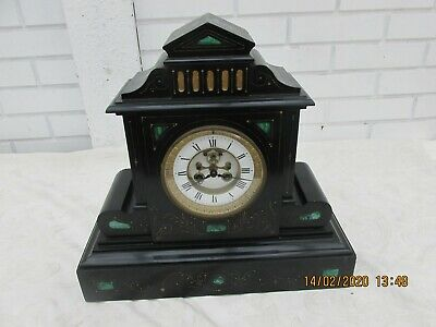 Antique French Black Slate And Malachite Inlaid Antique Mantel Clock Gwo 1860