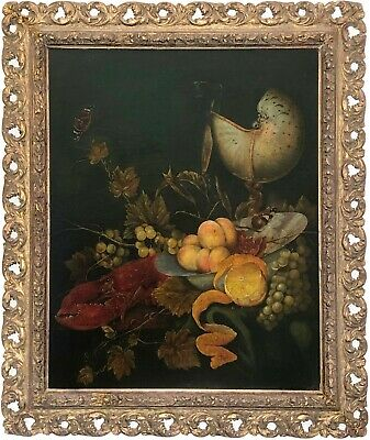 Lobster Still Life Antique Oil Painting manner of Cornelis de Heem (1631-1695)