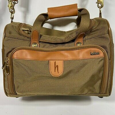 Vintage Hartmann Leather Nylon Luggage Green 2 Straps Small Duffel Travel Bag