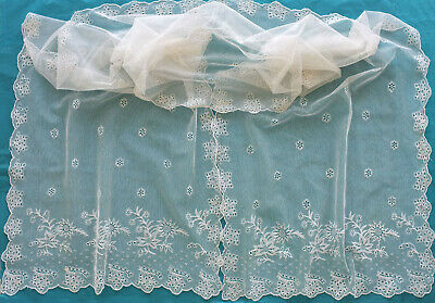 Antique white embroidered net  lace shawl