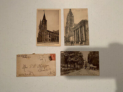 Three Vintage French Ww1 Post Cards And A Envelope.