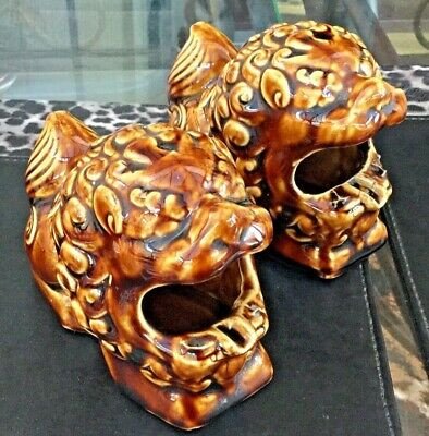 Vintage Pair of Glazed Chinese Foo Dogs Incense Stick Holders or Ashtrays