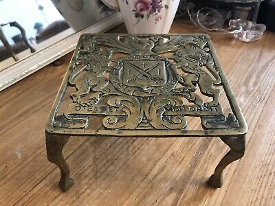 Antique Solid Brass Square Shaped 4 Legged Fireside Trivet Ornate Cut Out Top