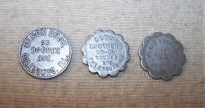 Nice 3 pc. Lot - Old Vintage Trade Tokens - Olson Bros., Galesburg, Illinois