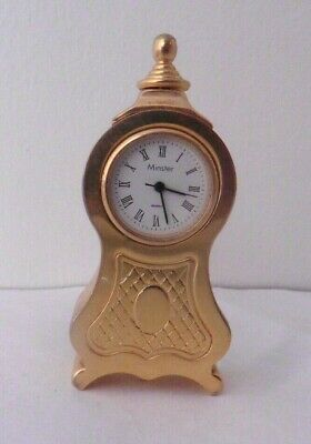 Vintage Minster Miniature Brass Grandfather Clock with Seconds Hand