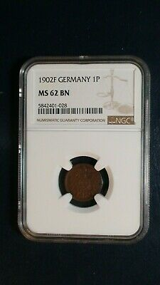 1902 F GERMANY One Pfennig NGC MS62 BN 1P Coin PRICED TO SELL RIGHT NOW!
