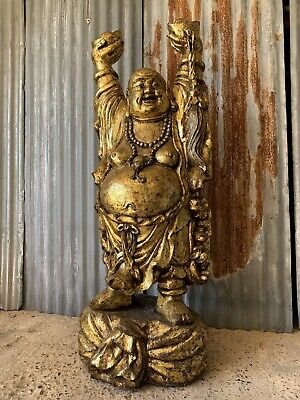 Antique Carved Wooden Standing Gold Chinese Laughing Buddha Statue LARGE 5ft 2""