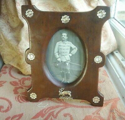 Old Antique German Swiss Black Forest Stag Mahogany Photo Frame Glass Inlaid