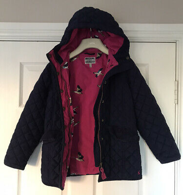 Joules Girls Beautiful Blue Quilted Hooded Coat & Pink Print Lining Age 9-10 VGC
