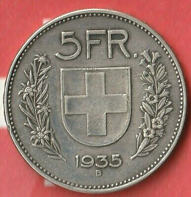 1935 Switzerland 5 Francs~  83.5% Silver- Pretty Nice Details~