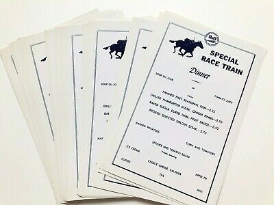 "28 original c. 1960 one-page menus B&O RAILROAD ""SPECIAL RACE TRAIN"""