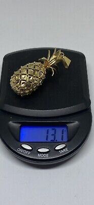 14k solid gold marked and tested pineapple pendant necklace charm 13 grams