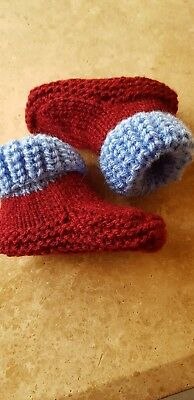 Claret and blue hand knitted newborn baby football/bootees 0-3 months