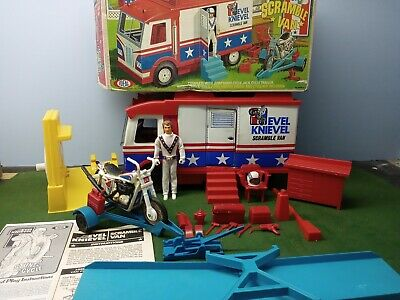 Vintage 70s Ideal Evel Knievel Stunt Cycle and Scramble Van
