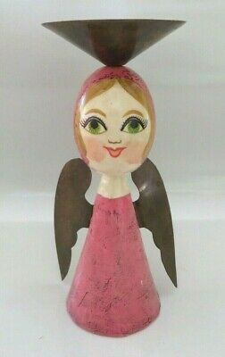 Vintage Htf Mexican Folk Art Gemma Taccogna Lady Angel Paper Mache Candle Holder