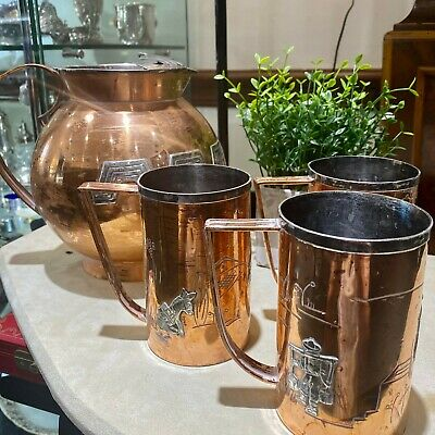 Mexican Sterling Copper mixed metal Cobre Taxco Victoria Water pitcher 3 cups