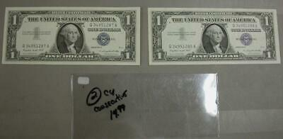 2 Silver Certificate In CU Condition W/ Consecutive Serial Numbers  -M552